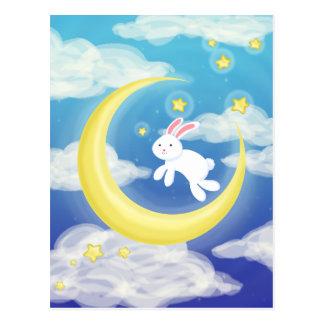 Azul del conejito de la luna tarjetas postales