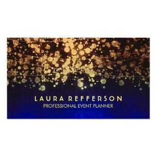 azul del confeti de la hoja de oro del vintage tarjetas de visita