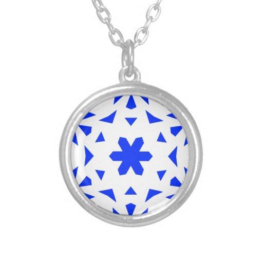 Azul del copo de nieve 10 colgante redondo