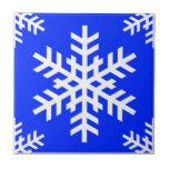 Azul del copo de nieve 4 tejas  ceramicas
