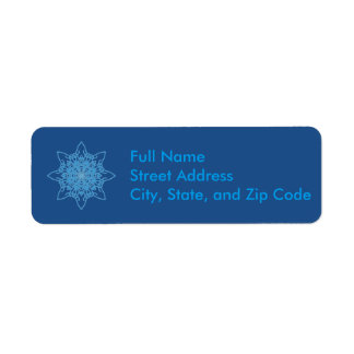 Azul del copo de nieve etiqueta de remitente