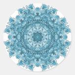 Azul del copo de nieve pegatina redonda
