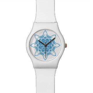 Azul del copo de nieve relojes