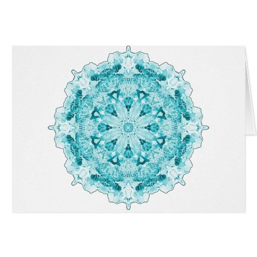 Azul del copo de nieve tarjeta de felicitación