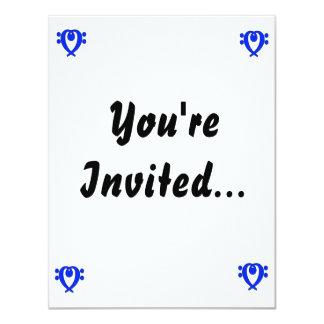 """Azul del corazón del Clef bajo Invitación 4.25"""" X 5.5"""""""