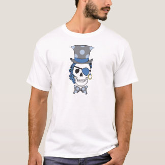 Azul del cráneo del pirata del novio playera