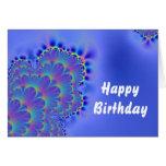 Azul del cumpleaños del fractal felicitacion
