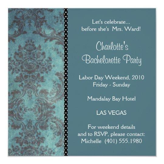 "azul del damasco; bachelorette invitación 5.25"" x 5.25"""