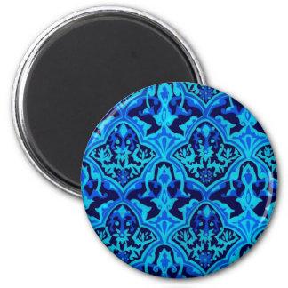 Azul del damasco imán redondo 5 cm