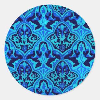 Azul del damasco pegatina redonda