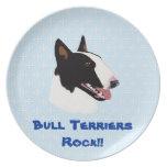 Azul del ~ de bull terrier con el diseño blanco de platos para fiestas