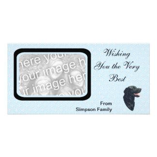 Azul del ~ del labrador retriever con los diamante tarjeta personal con foto