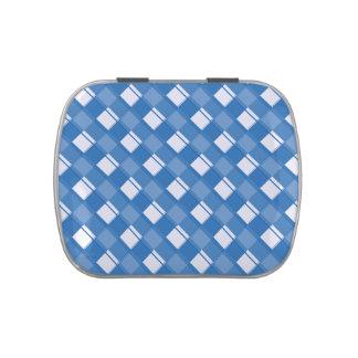 Azul del deslumbramiento de la tela escocesa 3 frascos de caramelos