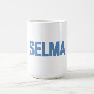 Azul del Día-Selma de MLK Taza Básica Blanca