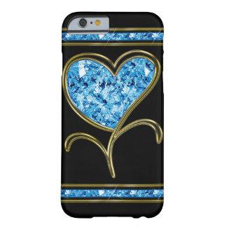 Azul del diamante y flor del corazón del oro funda de iPhone 6 slim
