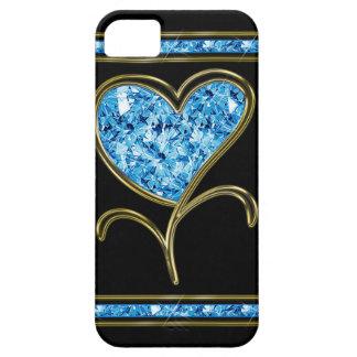 Azul del diamante y flor del corazón del oro iPhone 5 Case-Mate funda