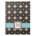 Azul del diario del cuaderno espiral de la flor de