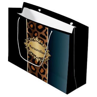 Azul del dril de algodón, negro e impresión de bolsa de regalo grande