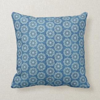 Azul del efecto del dril de algodón y almohada de