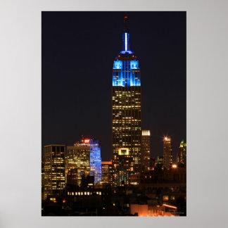 Azul del Empire State Building para el autismo 201 Impresiones