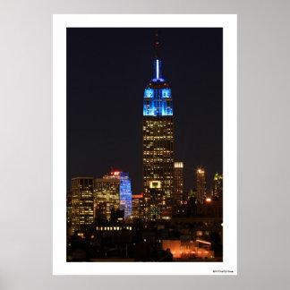 Azul del Empire State Building para el autismo 201 Poster