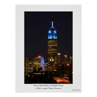 Azul del Empire State Building para el autismo 201 Posters
