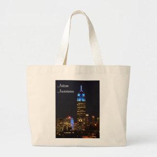 Azul del Empire State Building para el autismo Bolsa Tela Grande