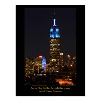 Azul del Empire State Building para el autismo Tarjetas Postales