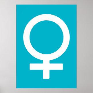 Azul del equipo de submarinismo - símbolo de Venus Póster