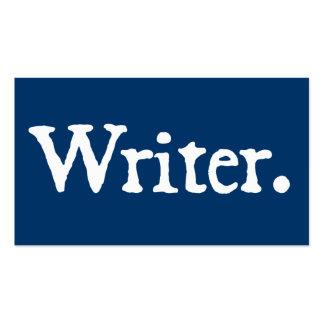 Azul del escritor tarjetas de visita