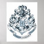 Azul del escudo de Hogwarts Poster