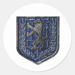 Azul del escudo de Jerusalén Pegatina Redonda