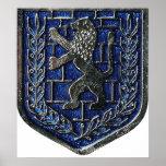 Azul del escudo de Jerusalén Poster