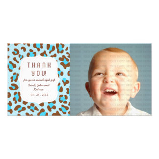 Azul del estampado de animales - cualquier ocasión tarjetas fotográficas