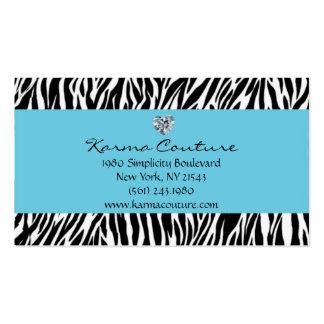 azul del estampado de zebra con el diamante en tarjetas de visita