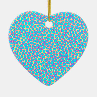 Azul del estampado leopardo en amarillo adorno navideño de cerámica en forma de corazón