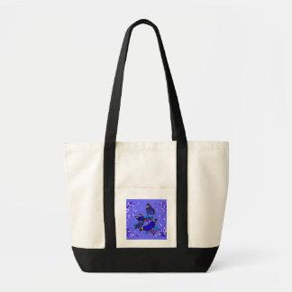 Azul del estilo de la mariposa bolsa lienzo