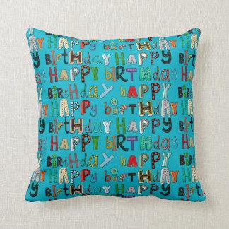 azul del feliz cumpleaños cojín decorativo