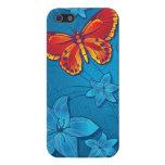 Azul del Flourish de la mariposa iPhone 5 Coberturas