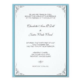 azul del flourish; el casarse invitación 10,8 x 13,9 cm