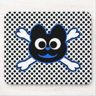 azul del gatito del cráneo mouse pads