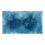 Azul del globo del mapa del mundo de la antigüedad tarjetas personales