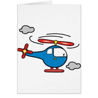 Azul del helicóptero un rojo felicitación