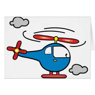 Azul del helicóptero un rojo tarjeta de felicitación