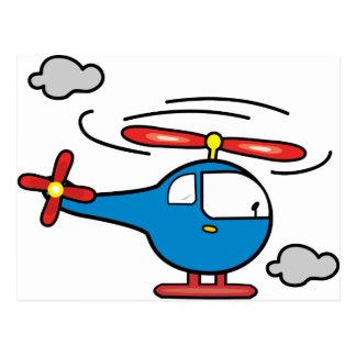 Azul del helicóptero un rojo tarjetas postales