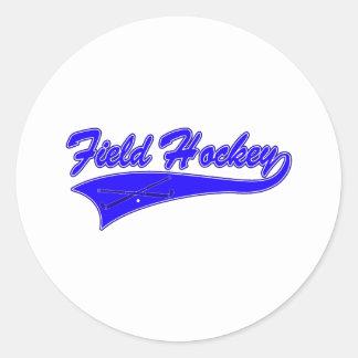 Azul del hockey hierba pegatina redonda