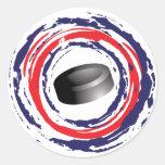 Azul del hockey y blanco rojos pegatina redonda