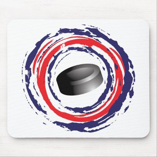 Azul del hockey y blanco rojos tapete de raton