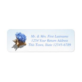 Azul del Hydrangea de la costa Etiquetas De Remite