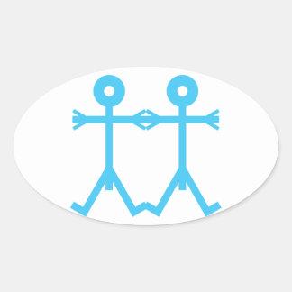 Azul del icono de los hombres del amor colcomanias ovaladas personalizadas